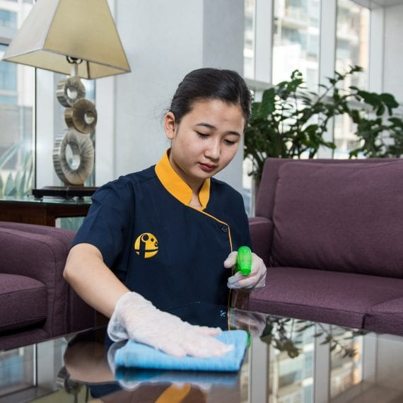 Al Fajer Facility Mangement table cleaning